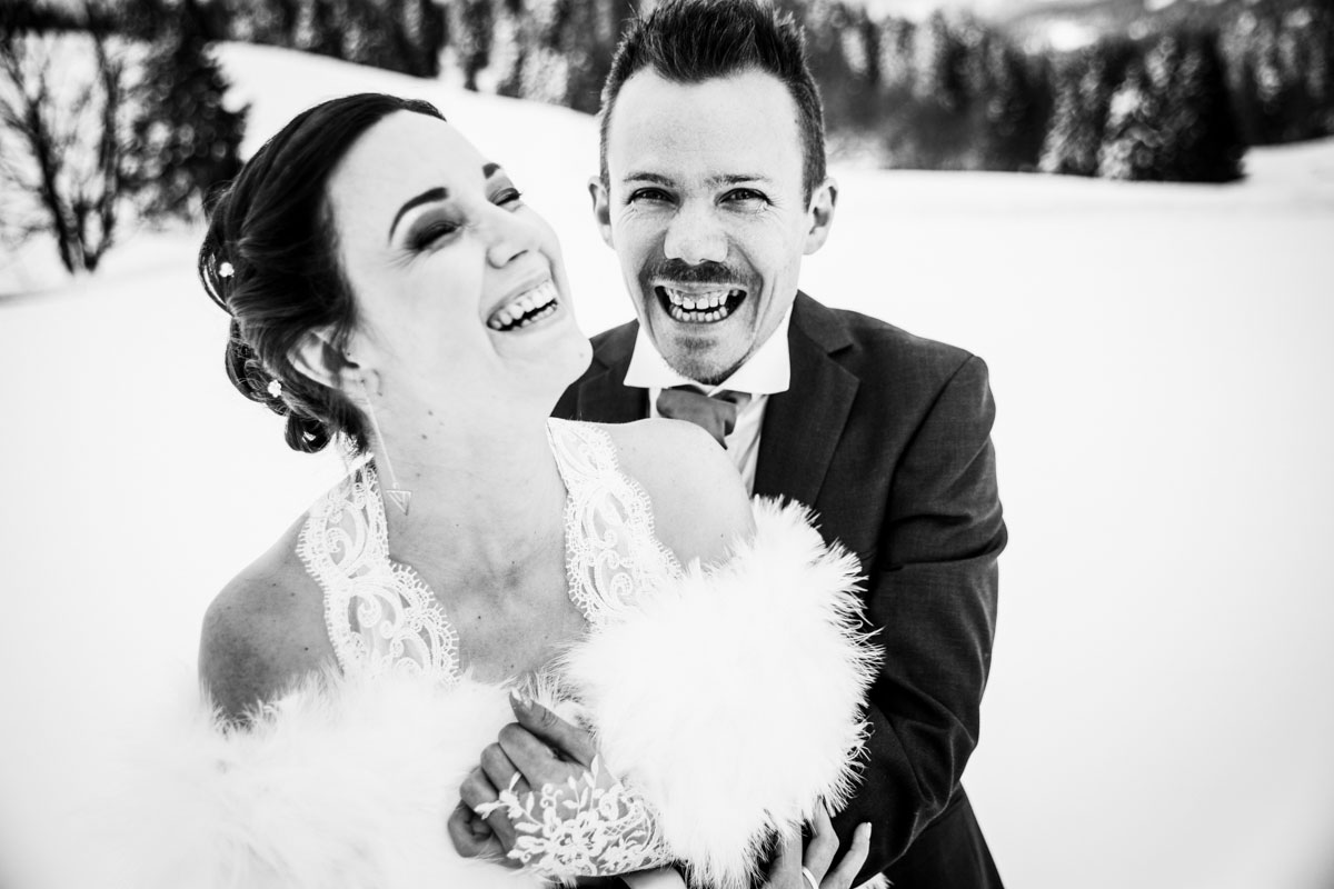 Photographe mariage haute savoie annecy chambéry hiver neige