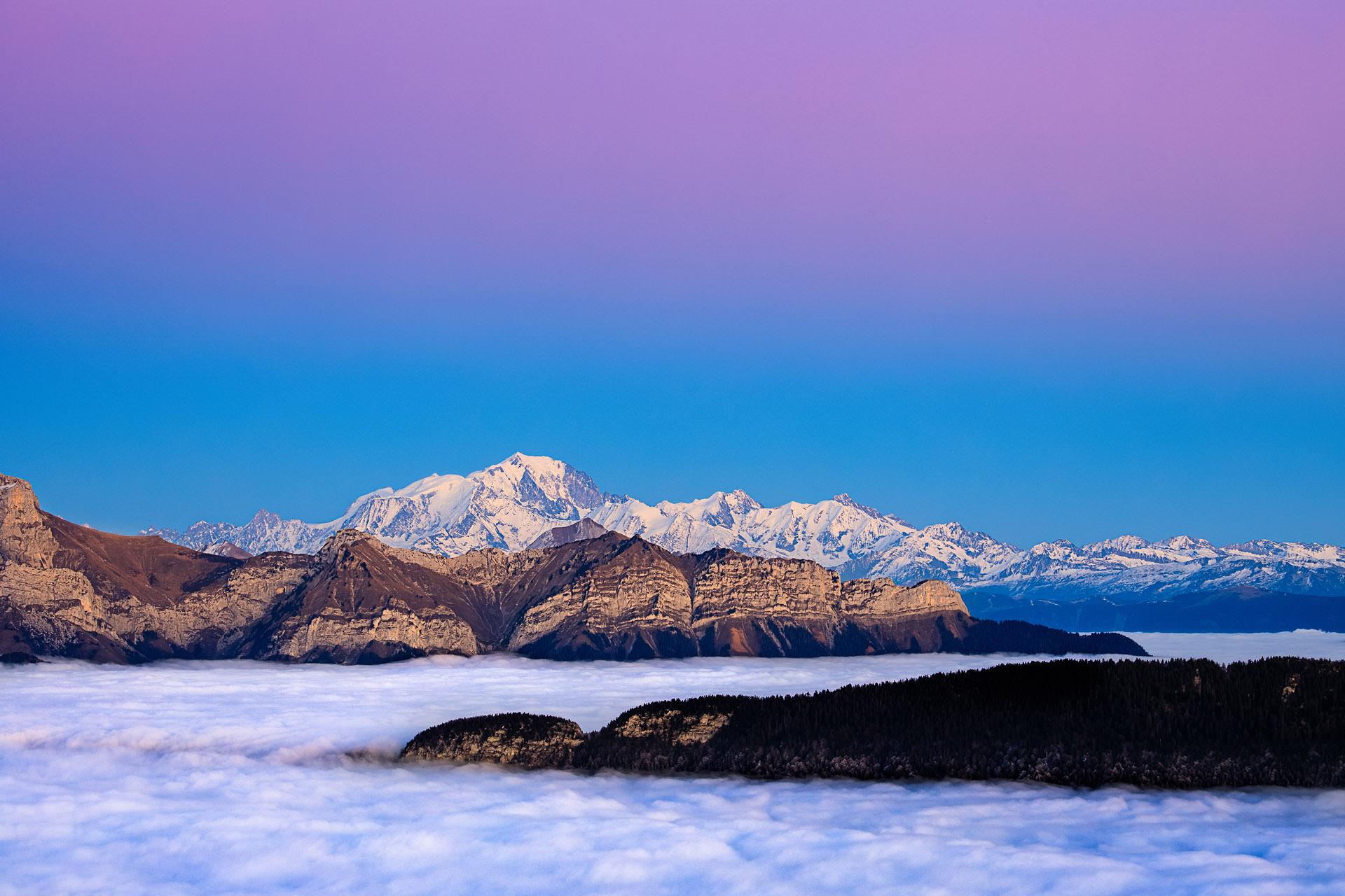 Mont blanc et mer de nuage. Stage photo Savoie Haute-Savoie