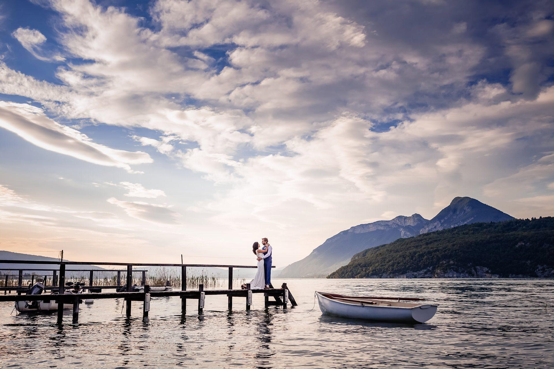 Photographe de mariage au lac d'Annecy